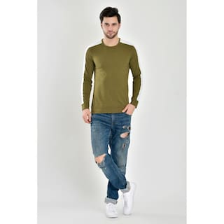 Stylogue Men Olive Regular fit Cotton Blend Round neck T-Shirt - Pack Of 1