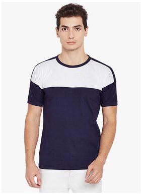 Stylogue Men Regular Fit Round Neck Colorblocked T-Shirt - Blue
