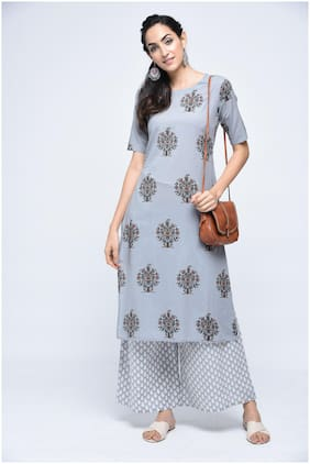 Stylum Women Grey Floral Straight Kurta With Palazzo