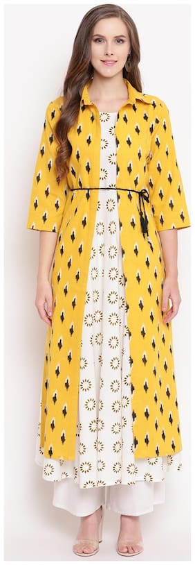 Stylum Cotton Printed Jacket Kurta Set Yellow