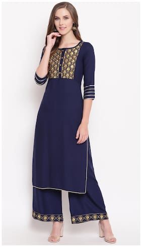 Stylum Rayon Embroidery Kurta With Palazzo Navy Blue