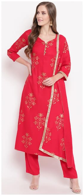 Stylum Rayon Printed Suit Set Red