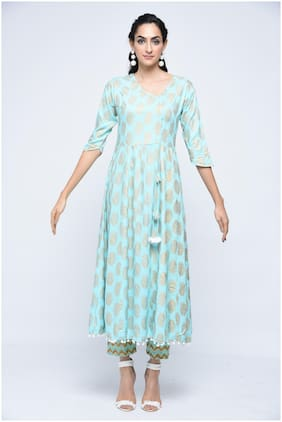 Stylum Women Blue Solid Angrakha Kurta With Pants