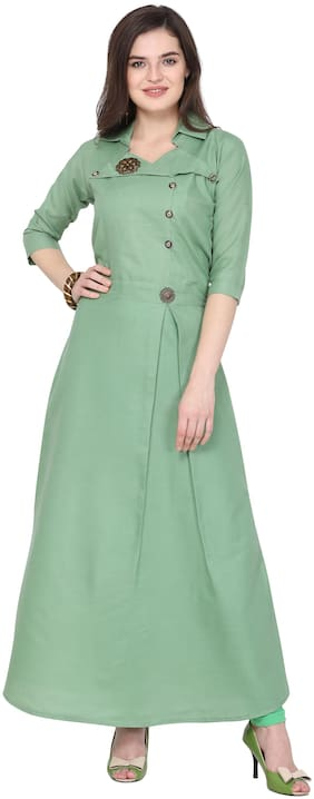 SUALI Women Green Solid Fit and Flare Kurta