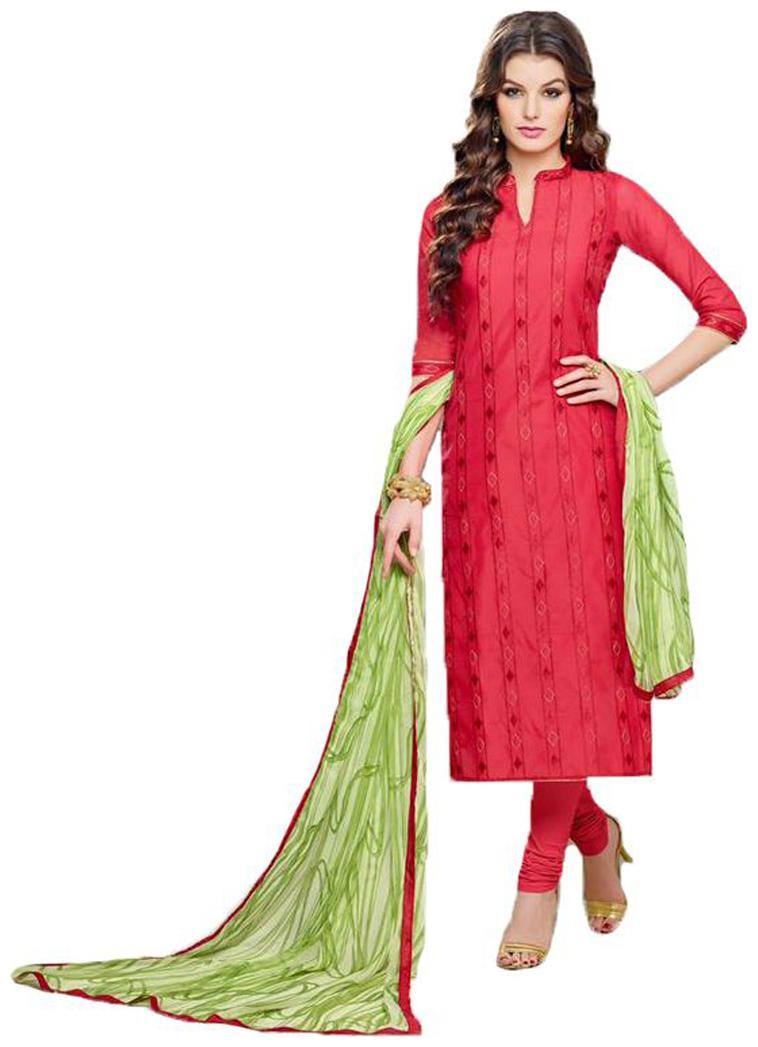 Sudev Fashion Red Chanderi Cotton Embroidered Un Stitched Dress Material