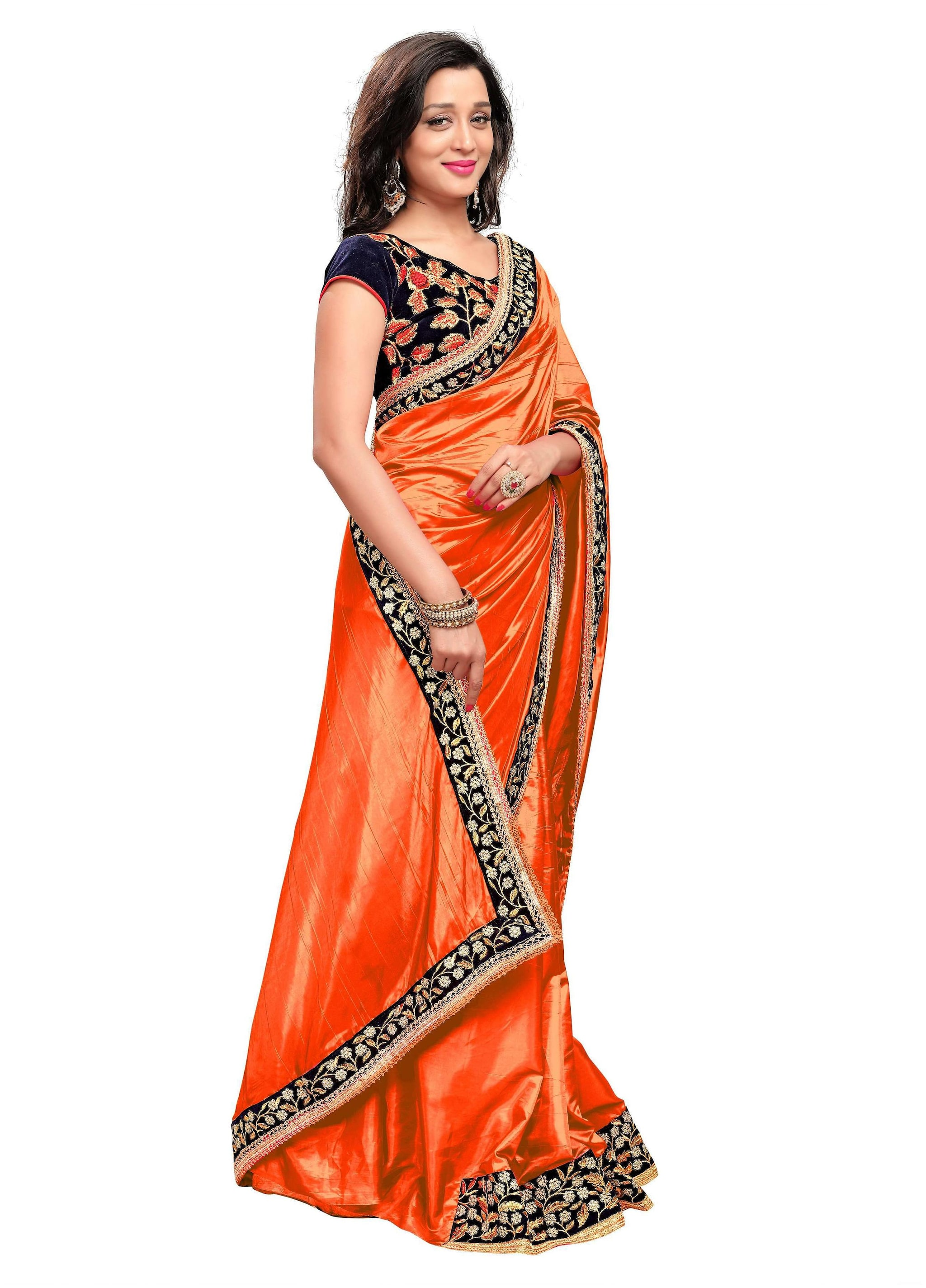 31fac7d964 Buy Sugandha Fashion Silk Universal Embroidered work Saree - Orange , With  blouse Online at Low Prices in India - Paytmmall.com