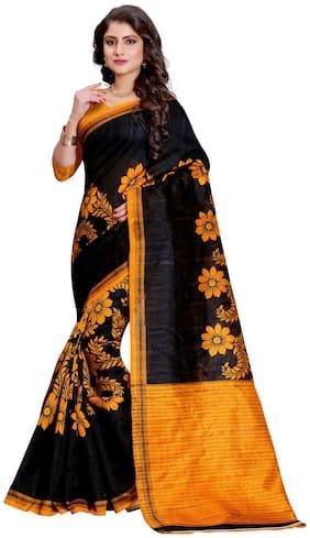 Sugathari Black and Yellow Bhagalpuri Cotton Printed Saree