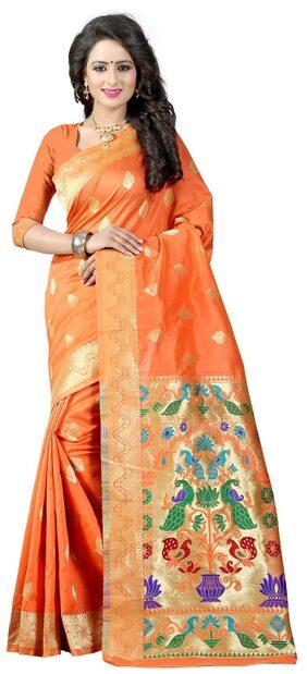Sugathari Orange Self Design Paithani Silk Woven Work Saree