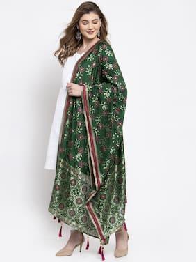 Sugathari  Women Jacquard Woven Green Dupatta