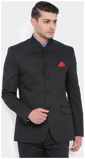 Suitltd Black Solid Slim Fit Bandhgala Jacket