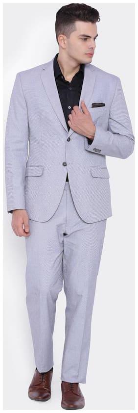SUITLTD Men Cotton Slim fit Suit - Grey