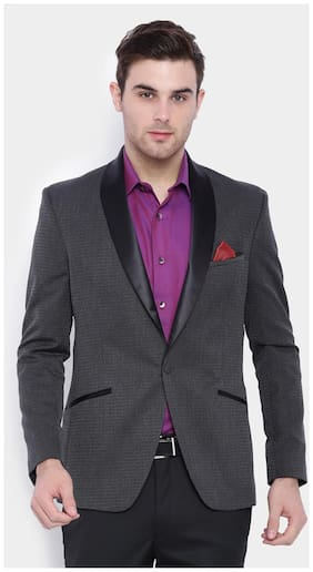 SUITLTD Grey Self design Slim fitTuxedo Jacket