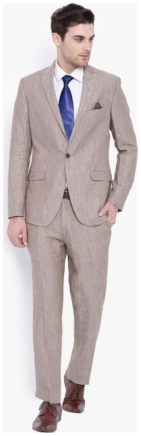Suitltd Khaki Textured Linen Slim Fit Suit