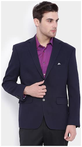 SUITLTD Navy Textured Poly Viscose Regular fit Jacket