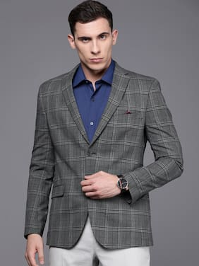 SUITLTD Men Grey Checked Slim fit Single Breasted Blazer