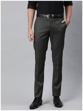SUITLTD Men Solid Slim Fit Formal Trouser - Grey