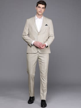SUITLTD Wool Blend Beige Checked Blazer and Trouser  For Men