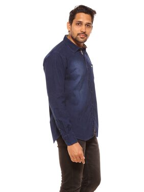 Summer Line Cotton Regular Fit Men's Casual Shirts Full Sleeves Blue_M