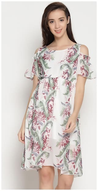 ENSO Women Printed Fit and Flare Dress- White