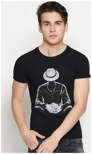 Men Regular fit Round neck Printed T-Shirt - Black
