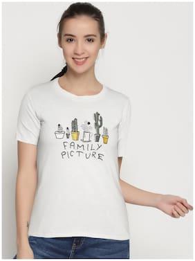 Women Printed Round neck T shirt - White