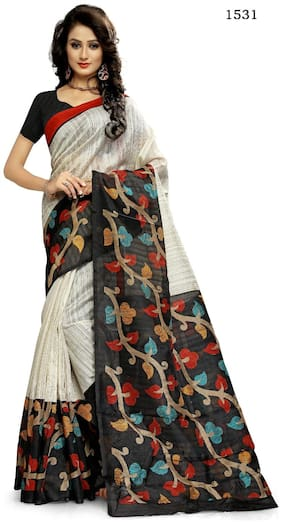 Sunaina White & Black Floral Universal Regular Saree With Blouse , With blouse