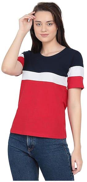 Sundish Women Multi Slim fit Round neck Cotton T shirt