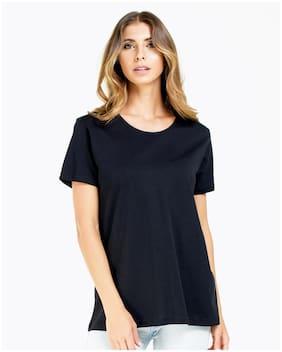 Sundish Women Black Slim fit Round neck Cotton T shirt