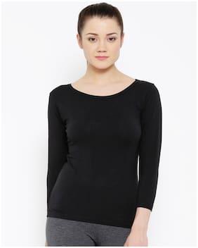 Sundish Women Black Slim fit Boat neck Cotton T shirt