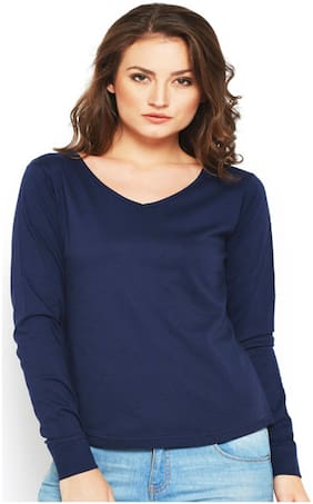 Sundish Cotton Solid Navy Blue T Shirt  For Women