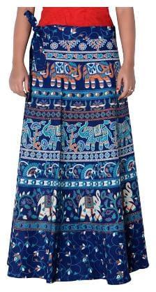 Sunrise Paridhan Geometric Wrap Skirt Midi Skirt - Blue
