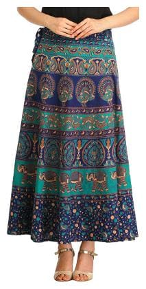 Sunrise Paridhan Geometric Wrap Skirt Midi Skirt - Blue