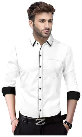SUR-T Men White Solid Slim Fit Casual Shirt