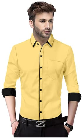 SUR-T Men Yellow Solid Slim Fit Casual Shirt