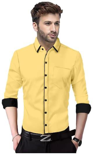 SUR-T Men Yellow Solid Slim Fit Casual Shirt
