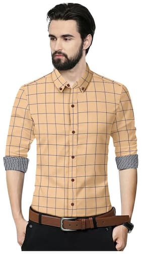 SUR-T Men Yellow Checked Slim Fit Casual Shirt