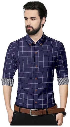 SUR-T Men Navy Blue Checked Slim Fit Casual Shirt
