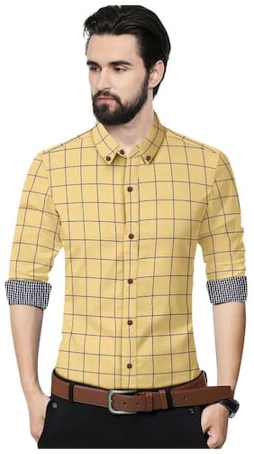 SUR-T Men Beige Checked Slim Fit Casual Shirt