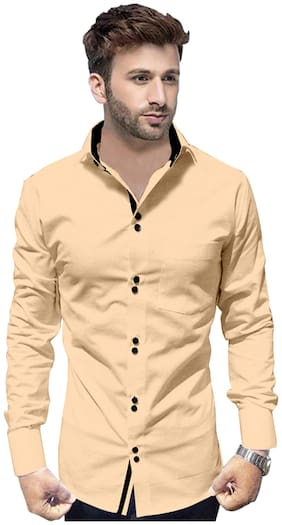 SUR-T Men Beige Solid Slim Fit Casual Shirt