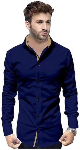 SUR-T Men Navy Blue Solid Slim Fit Casual Shirt