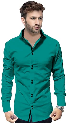 SUR-T Men Green Solid Slim Fit Casual Shirt