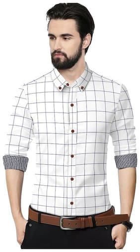 SUR-T Men White Checked Slim Fit Casual Shirt