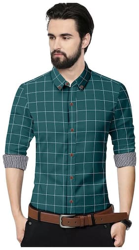 SUR-T Men Green Checked Slim Fit Casual Shirt