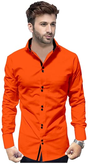 SUR-T Men Orange Solid Slim Fit Casual Shirt