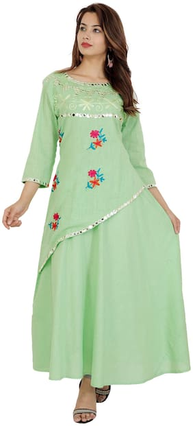 SUSHIL GARMENTS Rayon Floral Green Stitched Suits