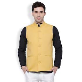 Svanik Gold Solid Linen Blend Ethnic Jacket