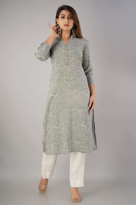 SVARCHI Women Grey Printed Straight Kurta With Pants