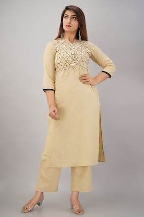 SVARCHI  Women Cotton Blend Beige Kurta  With Palazzo