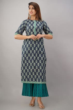 SVARCHI Women Blue Floral Straight Kurta With Palazzo