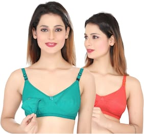 Swangiya Women Maternity Bra - Green & Orange 42b